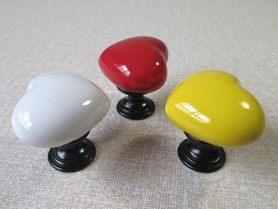 ceramic knobs kids dresser drawer knobs pulls handles colorful heart kitchen cabinet knobs pull