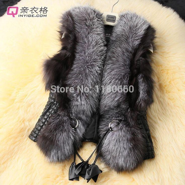 Плюс размер новая мода дамы элегантный черный короткие Тонкий дизайн лиса меховой жилет кожаный жилет мех и кожа жилет женщин пальто верхняя одежда