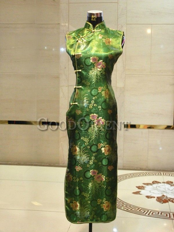 Green Peony Silk Brocade Dress