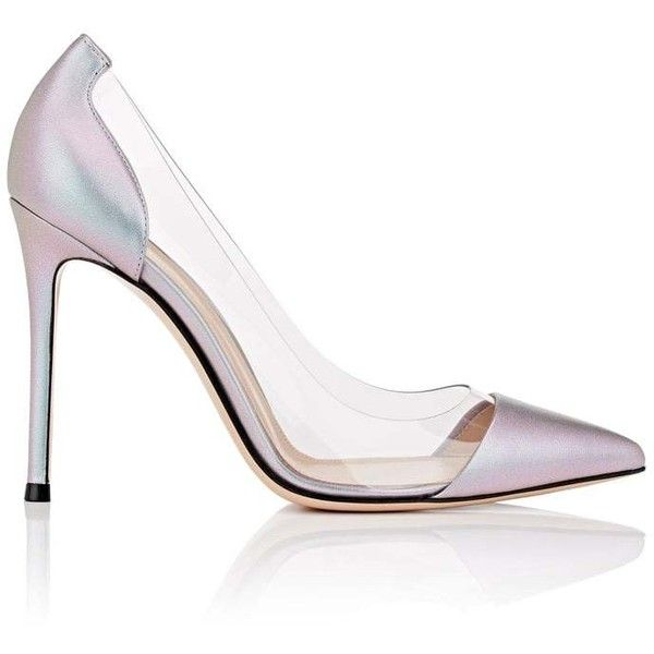 Gianvito Rossi Women's Plexi Leather & PVC Pumps ($795) ❤ liked on Polyvore featuring shoes, pumps, heels, silver, clear heel shoes, clear heel pumps, clear high heel shoes, pointy-toe pumps and pointed-toe pumps