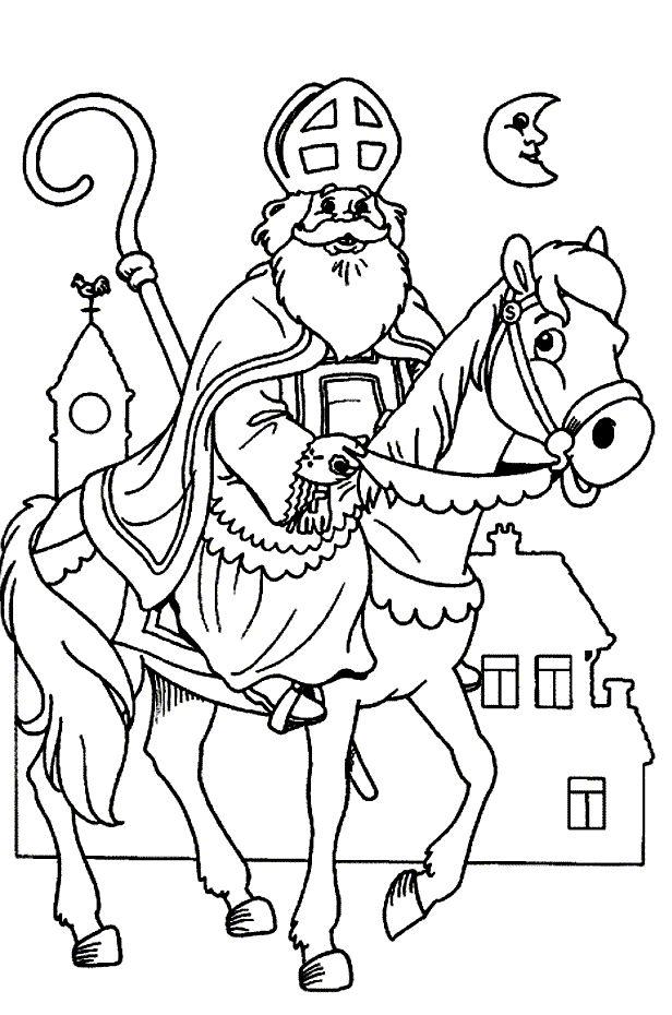 sinterklaas kleurplaat sint paard staf maan huizen
