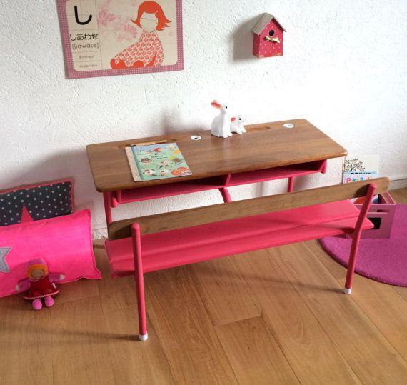 Pupitre d 39 colier 2 places ann es 60 coloris rose par chouette fabrique inspiration - Deco chambre annee 60 ...