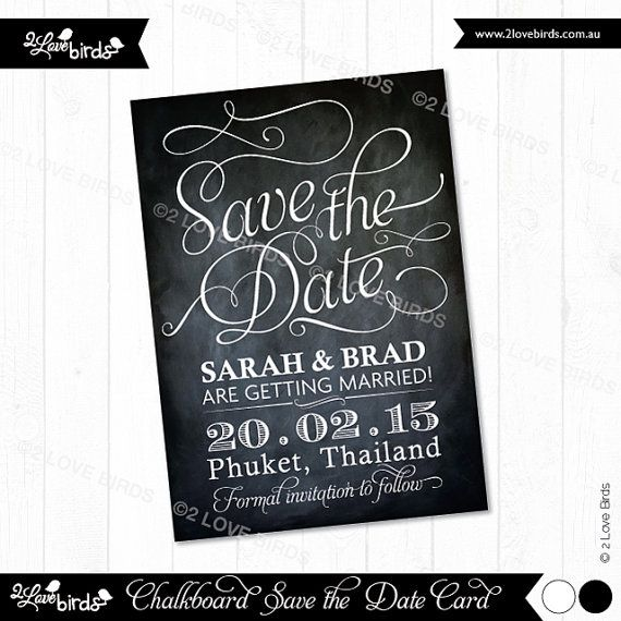 Save the Date 'Chalkboard' Printable Card by 2LoveBirdsDesign