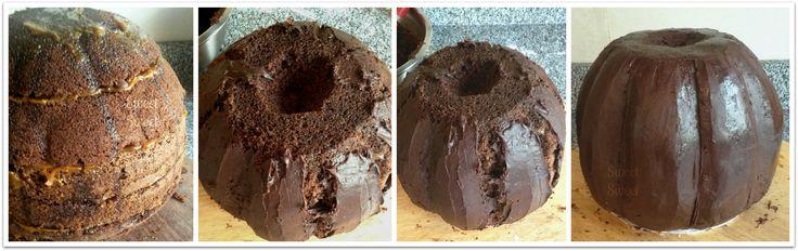Interior de torta Calabaza Torta tallada de manteca sabor chocolate. Decoraciones en pasta de goma  Seguinos facebook.com/sweetsweetpasteleria Pedidos pasteleriasweetsweet@yahoo.com.ar  #calabaza #tortacalabaza #pumpkincake #halloween #tortahalloween #cumplecalabaza #sweetsweet