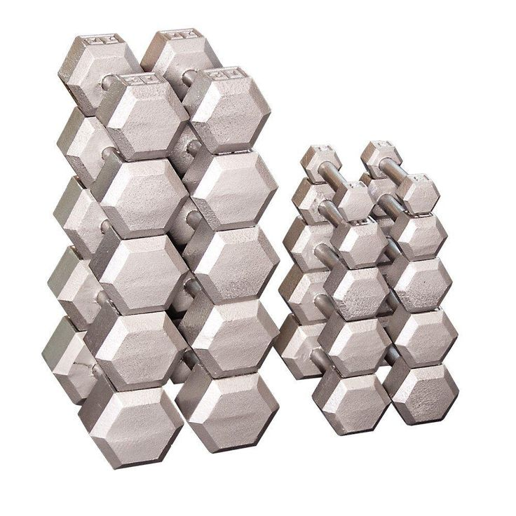Body Solid Grey Hex Dumbbell Sets 5 - 50 lb Pairs