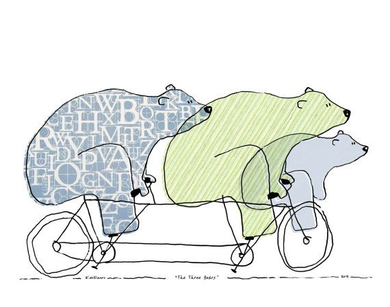 The Three Bears ~ why not ride while your porridge cools instead? This image is a custom addition to the Bears on Bikes series by artist Kris
