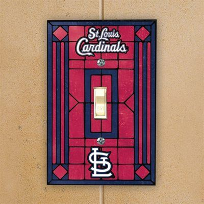 St Louis Cardinals Red Art Glass Switch Plate Cover