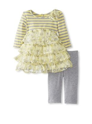 50% OFF Pippa & Julie Baby Striped Tiered Dress & Legging Set (Yellow/grey)