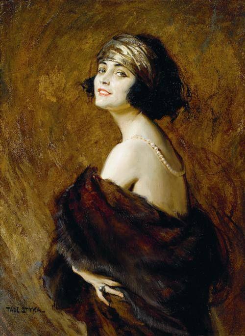 Tadeusz Styka - Portret Poli Negri, oil on paper, przed 1930.