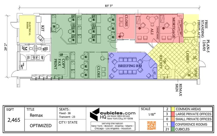 Floor Plan Of The Office With Many Cubicles