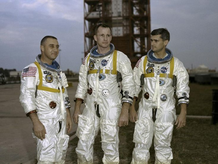 On Jan. 27, 1967, veteran astronaut Gus Grissom, first American spacewalker Ed White and rookie Roger Chaffee (left-to-right) were preparing for what was to be the first manned Apollo flight. The astronauts were sitting atop the launch pad for a pre-launch test when a fire broke out in their Apollo capsule.