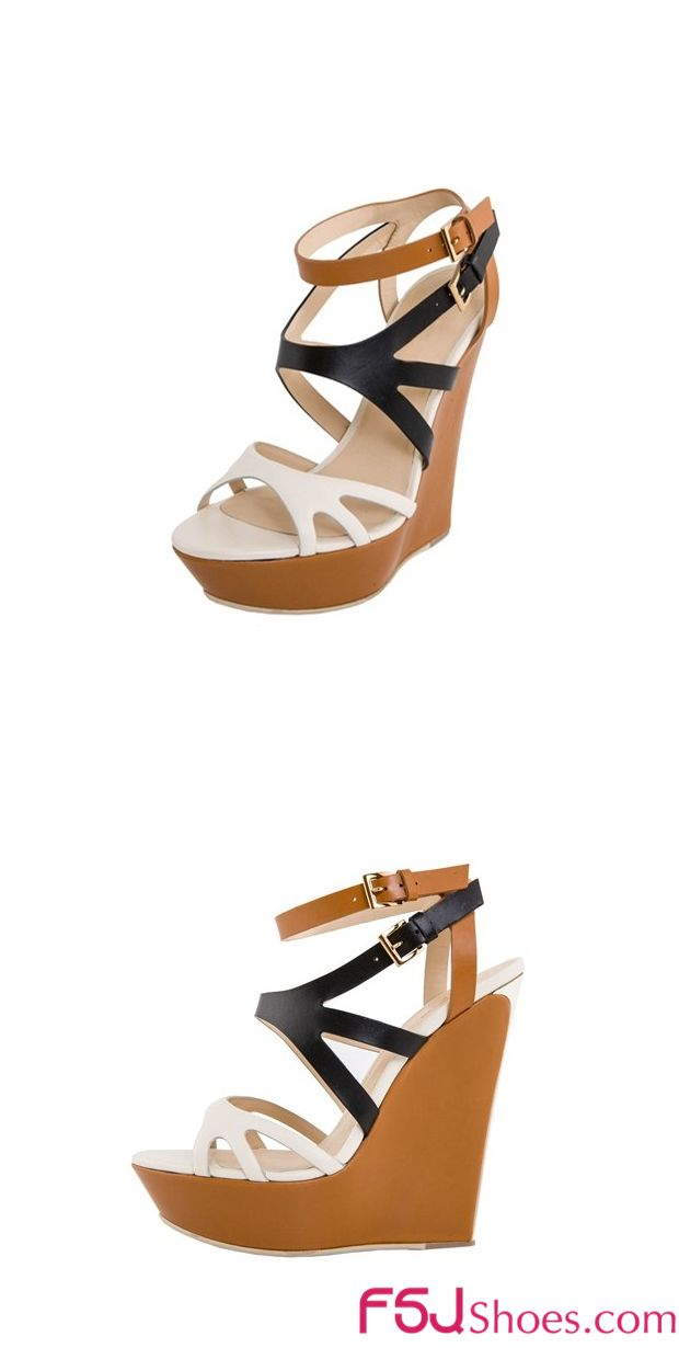 Women's Style Sandal Shoes Fall Fashion 2017 Fall Outfits Women New York Fashion Week Street Style Outfits 2017 Women's White and Black Multicolred Platform Wedge Heels Ankle Strap Sandals Fall Fashion Trends 2017 | FSJ