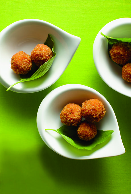 Brides: Risotto Balls. Risotto Balls Guests won't be able to stop at one! The starring player in these delectable  fried morsels is burrata, a cultishly popular mozzarella that owes its richness  to cheese curds and cream.Source: Pinch Food Design.