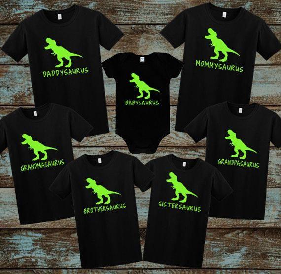 Kid Dinosaur Shirts Black First Birthday Twin Party