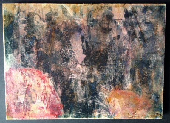 Original Mixed Media Art On Wood Transfer Spectral Demons Devil Sant Antoni Spanish Mallorca Tradition Dance Macabre Obscure Red Wall Art