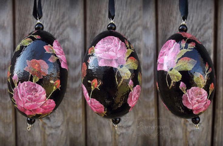 Czarne pisanki decoupage - zdobione, malowane, lakierowane na wysoki połysk - elegancka ozdoba nie tylko na Wielkanoc :)