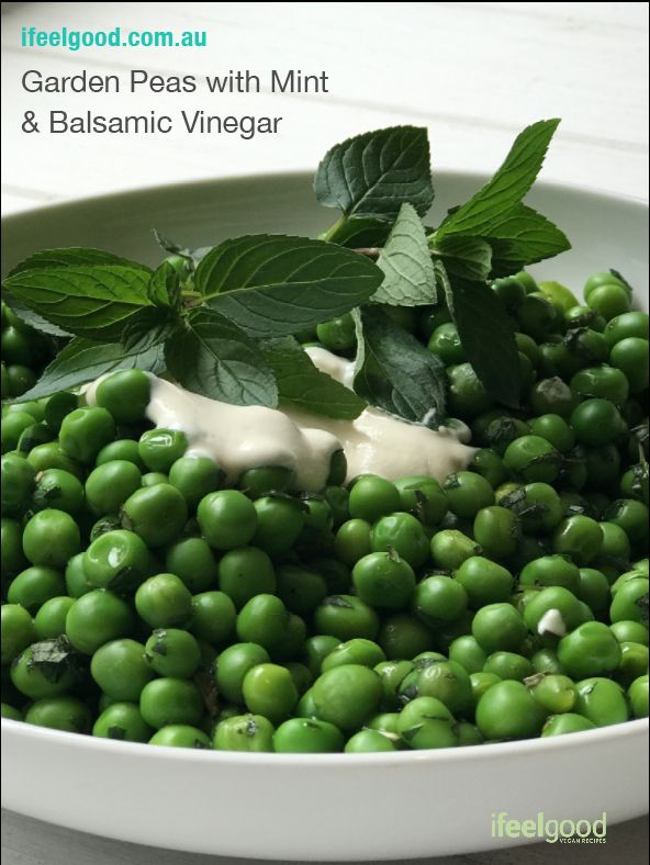 Garden Peas with Mint & Balsamic Vinegar Whole Food Plant Based Recipes