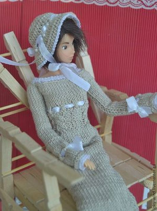 Купить Бежевый наряд для момоко - бежевый, момоко, платье для момоко, наряд для момоко, кукольное платье