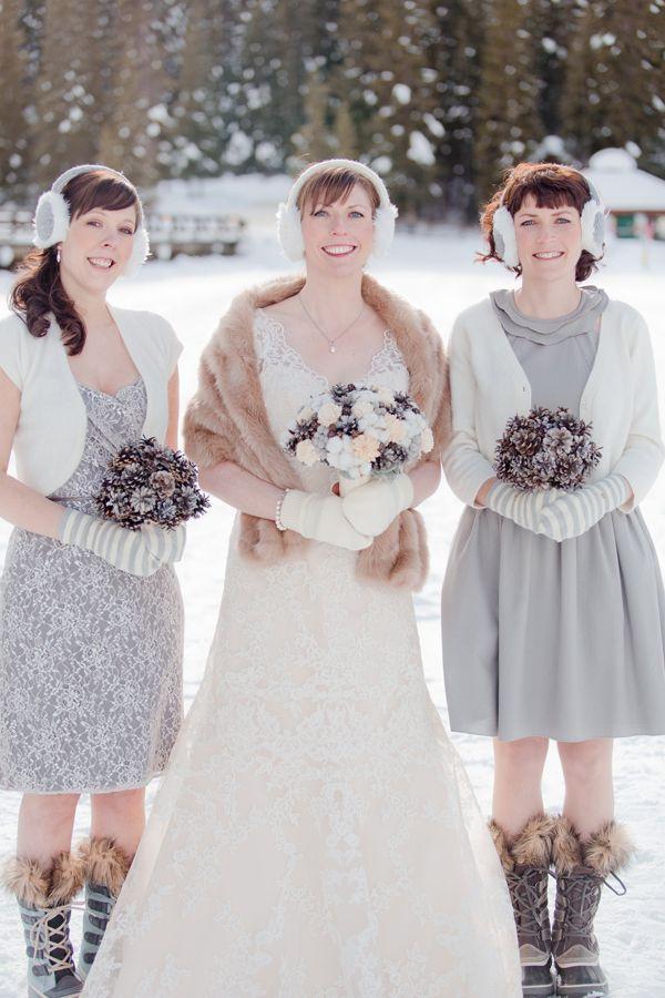 Winter wonderland bridesmaids / Naturally Chic Wedding  Photo by Julie Williams photography. #emeraldlakewedding #winterwedding