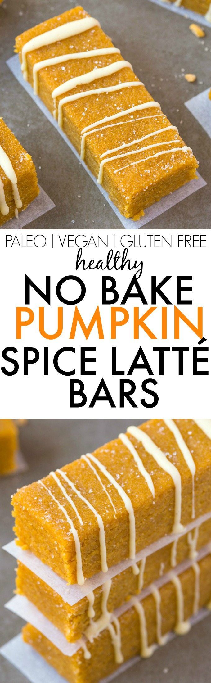 Healthy No Bake Pumpkin Spice Latte Bars- Thick, chewy and LOADED with pumpkin…