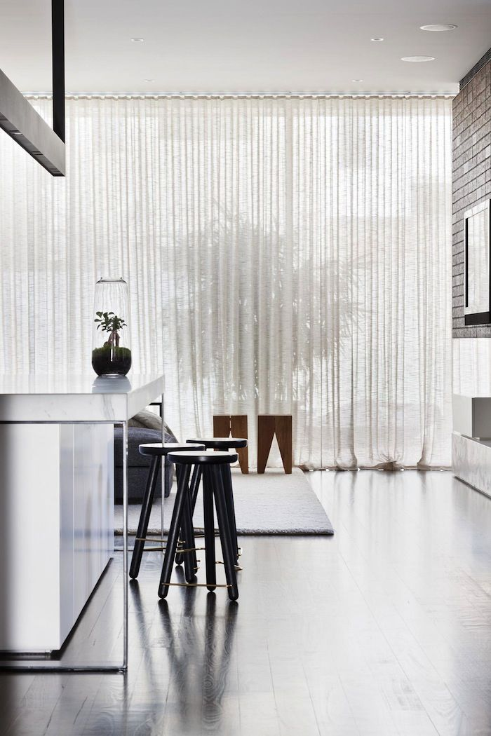 Hecker Guthrie | Park St Residence; sheer curtain, wire-framed marble bench