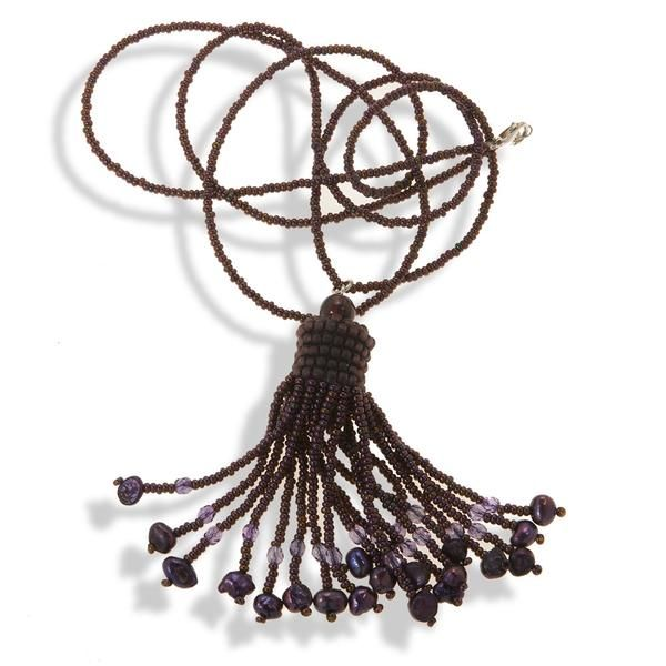 Handmade Deep Purple Shimmering Tassel Necklace