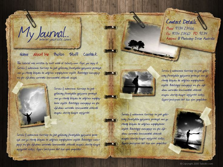 types of journals | ... through a full photoshop design of journal/personal type website