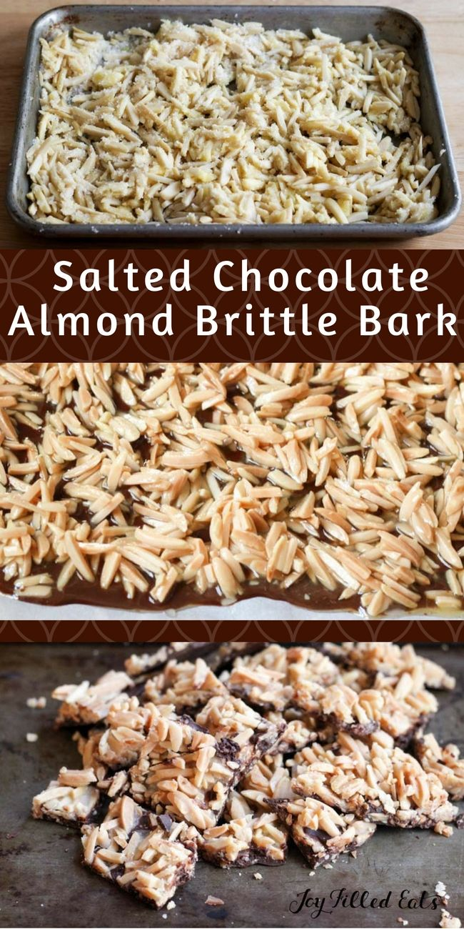 Salted Chocolate Almond Brittle Bark - Low Carb, Sugar Free, THM S. Crunchy candied almonds on top of rich chocolate sprinkled with sea salt. You'll never guess how easy this Salted Chocolate Almond Brittle Bark is to make.  via @joyfilledeats