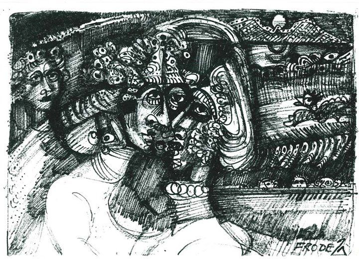 INK DRAWING ON PAPER - FRODE SVANE