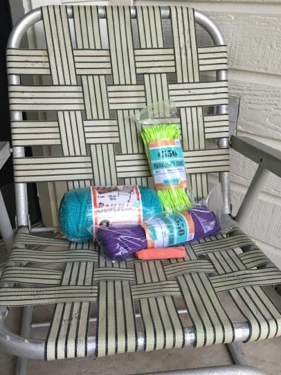 Don't throw those old lawn chairs away, DIY Network shows you how to bring them back to life by reweaving the seat with brightly colored craft cord.