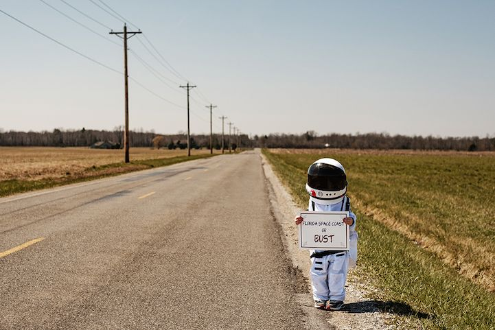 "Photographer Aaron Sheldon and his four-year-old son. ""Small Steps Are Giant Leaps""."