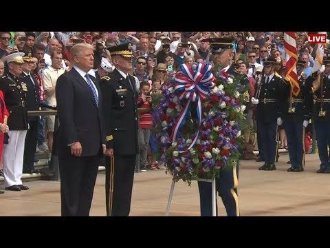 President Trump ,Mike Pence & Rex Tillerson Arrive At Arlington National Cemetery For Remarks - YouTube