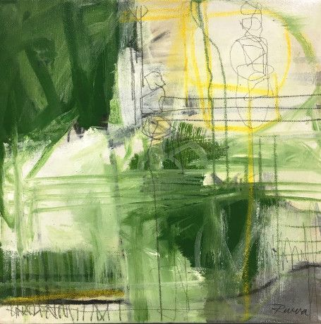 "Jennifer Rivera, ""East Meadow At 5th"",12"" X 12"", acrylic graphite and pastel stick on canvas"