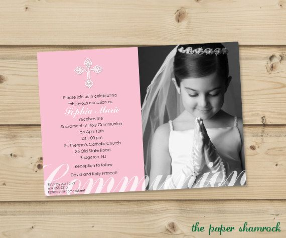 Girl's First Communion Invitations Communion by ThePaperShamrock