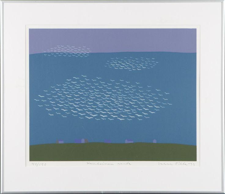 Saara Tikka: Kaukainen ranta, 1999, litografia, 33,5x42,5 cm, edition 40/150 . Hagelstam A126