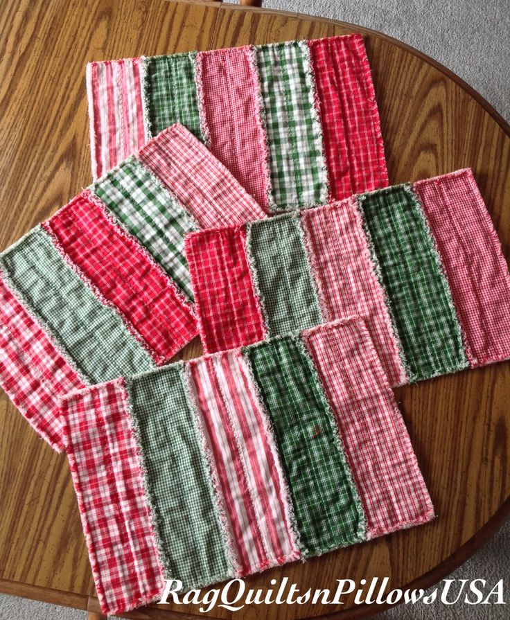 Christmas Placemats Set 4 Homemade Quilted Placemats Country Christmas Placemats Handmade Placemats Primitive Placemats Homespun Red Green by RagQuiltsnPillowsUSA on Etsy