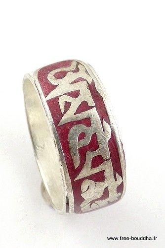www.free-bouddha.fr, bijoux tibetains, artisanat tibétain, bijoux en argent pierres naturelles, bols tibétains, pashminas laine, vetements baba cool, jupes hippie Bague homme mantra de Chenrezi ABT14.1 -