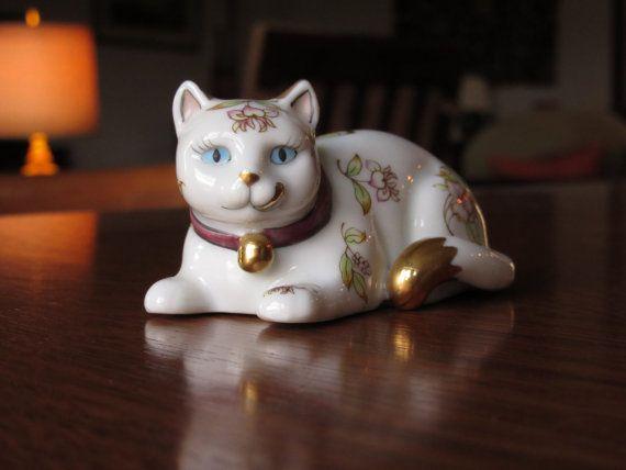 Millésime 1986 Satsuma doré Cat, Franklin Mint, Curio Cabinet chats Collection, cadeau pour Cat Lovers, chatons, Figurines à collectionner, Japon