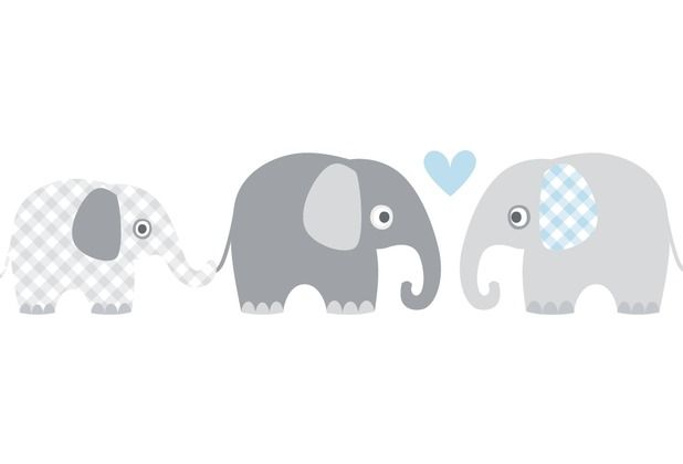 Lovely Label Selbstklebende Bordüre Elefanten Grau/Blau