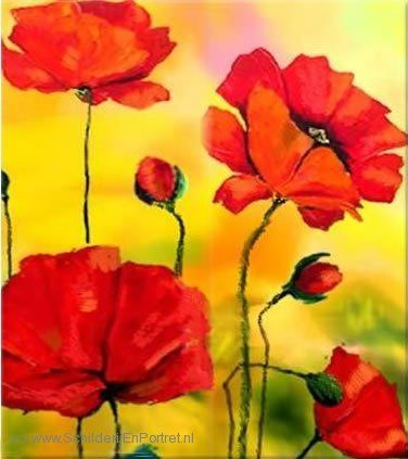 Bloemenschilderij Klaprozen