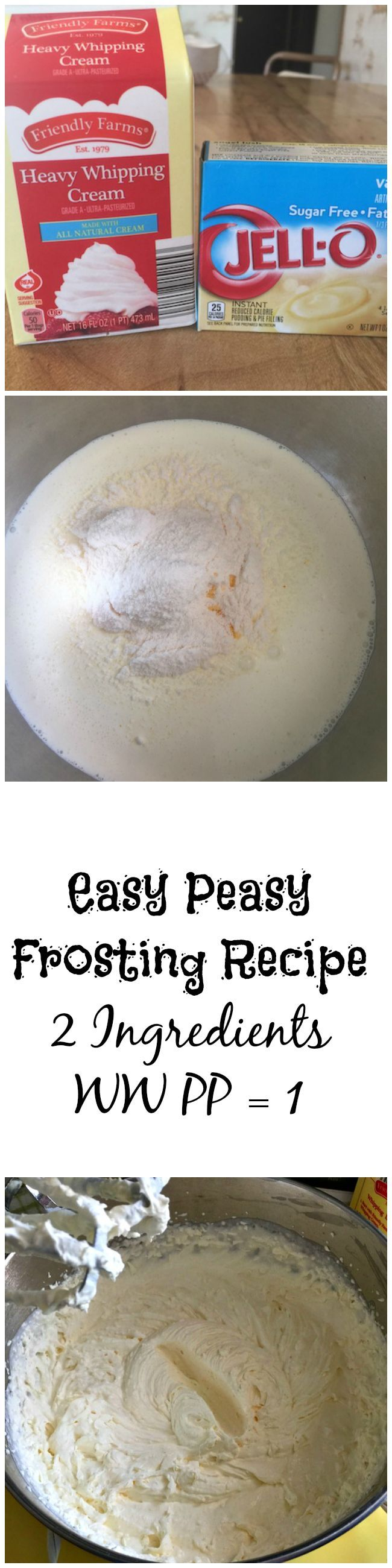 I have been making this frosting recipe for most of my life. I am not a fan of butter cream frosting, it's way too sweet. And with only 1 WW PP, it's easy!