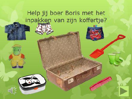 Op www.digibordpeuters.jouwweb.nl staat een woordenschat les over de dingen die boer Boris allemaal meeneemt in zijn koffer.