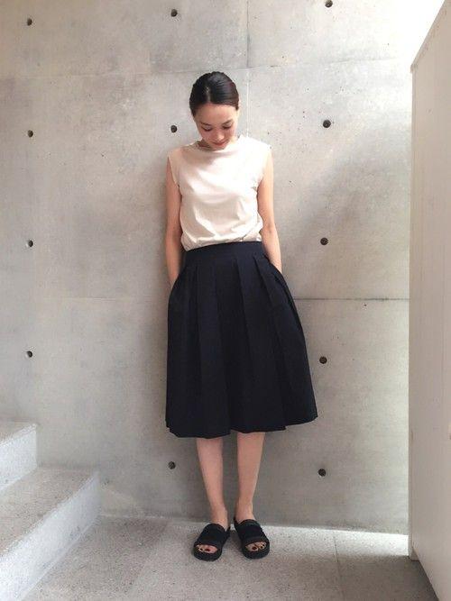 aquagirl PRESSさんの「タックフレアミディスカート(aquagirl)」を使ったコーディネート