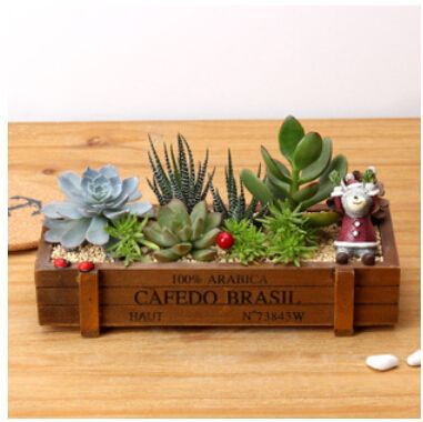 Home Decoration ZAKKA Storage box Wood Retro do old Square Flowerpots Meaty Plant Woody Floral Organ Containers Wooden Box