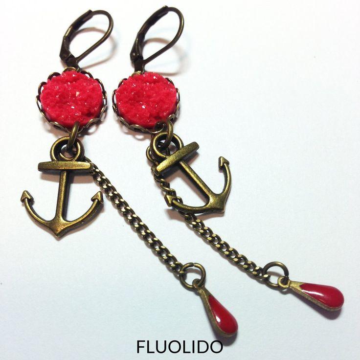 Boucles d'oreilles Pendentif Druzy Rouge Ancre