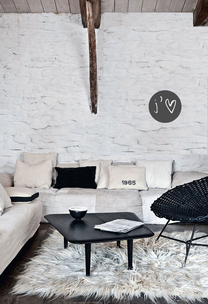 love wall, ceiling, rug, coffee table, black rattan chair. Would HAVE to inject some colour in there though. Just me!