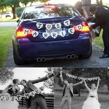 JUST MARRIED Wedding Banner Party Decoration Bunting Garland Handmade V3NF(China (Mainland))