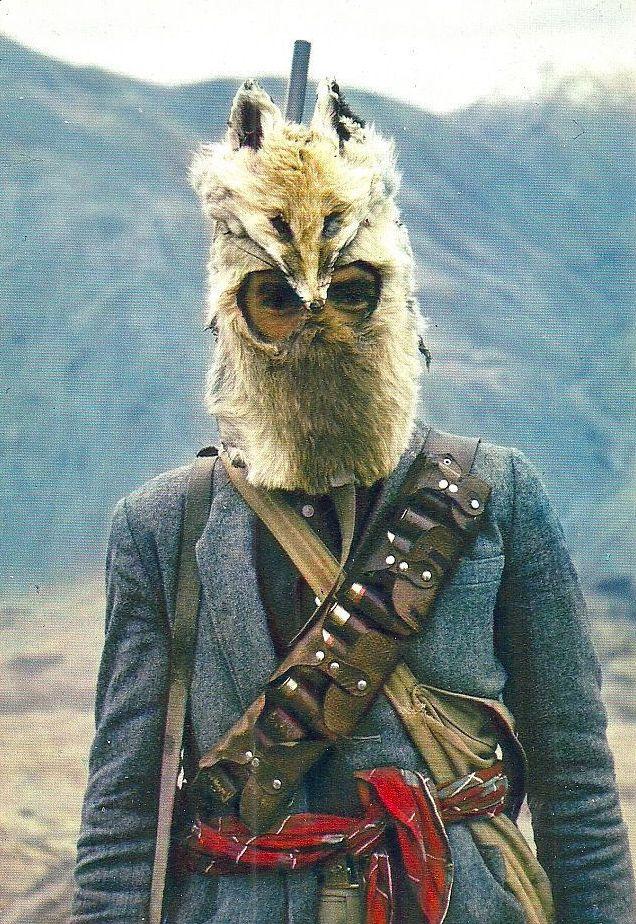 1970s Afghanistan hunter wearing a Fox mask