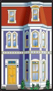 Jelly Bean Row house - Product Details standard size. Doll house opening front doors.