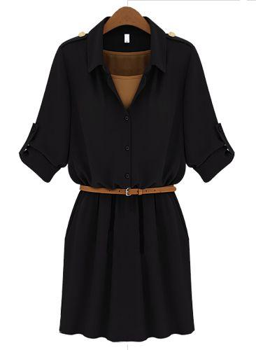 Black Lapel Belt Bandeau Chiffon Dress #sheinside